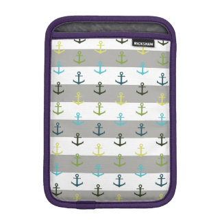 Colorful anchor pattern on stripy background iPad mini sleeve