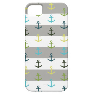 Colorful anchor pattern on stripy background iPhone 5 covers