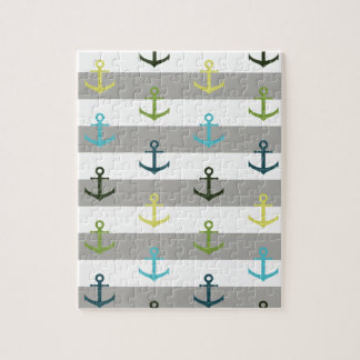 Colorful anchor pattern on stripy background jigsaw puzzle