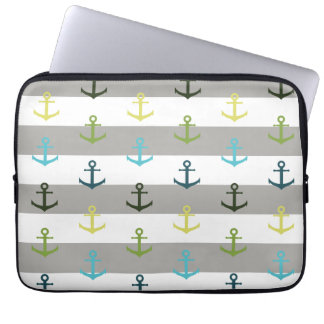 Colorful anchor pattern on stripy background laptop sleeve