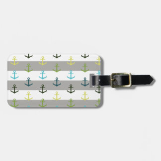 Colorful anchor pattern on stripy background luggage tag