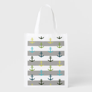 Colorful anchor pattern on stripy background reusable grocery bag