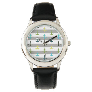 Colorful anchor pattern on stripy background watch