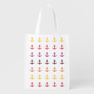 Colorful anchor pattern reusable grocery bag