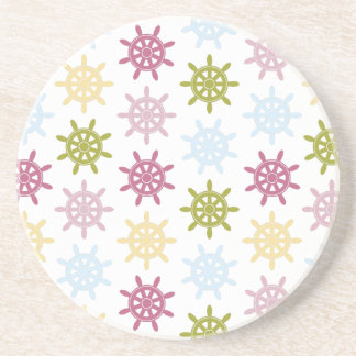 Colorful anchors pattern coaster