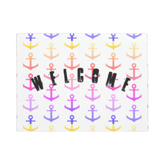 Colorful anchors pattern doormat