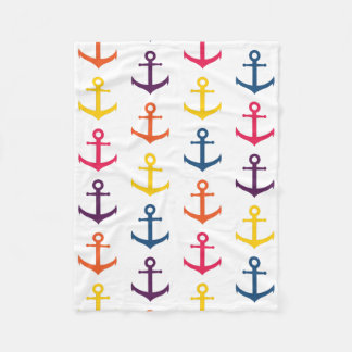 Colorful anchors pattern fleece blanket
