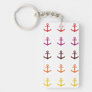 Colorful anchors pattern keychain