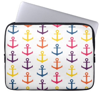 Colorful anchors pattern laptop sleeve