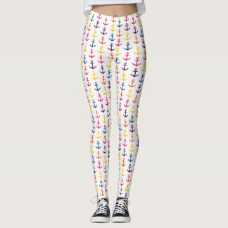 Colorful anchors pattern leggings