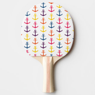 Colorful anchors pattern ping pong paddle