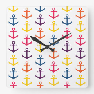 Colorful anchors pattern square wall clock