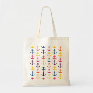 Colorful anchors pattern tote bag