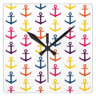 Colorful anchors pattern wall clocks