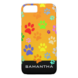 Colorful and Cute Paw Pattern Monogram iPhone 8/7 Case