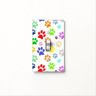 Colorful and Cute Pet Paws Pattern Light Switch Cover