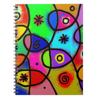 Colorful and fun abstract art on spiral notebook