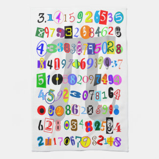 Colorful and Fun Depiction of Pi Kitchen Towel