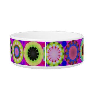 Colorful and fun retro circles pet bowl