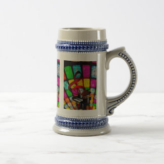 Colorful and Jazzy Treble Clef and Piano Beer Stein