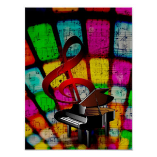 Colorful and Jazzy Treble Clef and Piano Poster