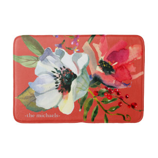 Colorful and Vibrant Floral Botanical with Name Bath Mat