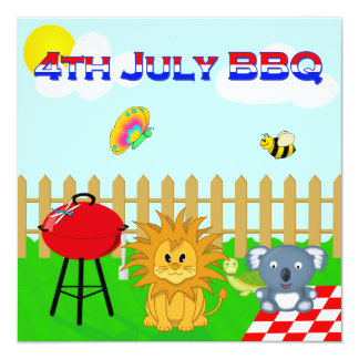 Colorful Animal BBQ Cartoon 4th July Family Party 5.25x5.25 Square Paper Invitation Card