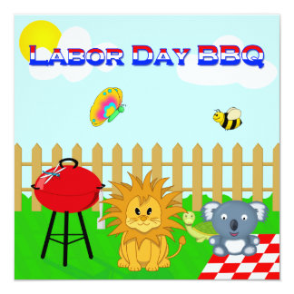 Colorful Animal BBQ Cartoon Labor Day Family Party 5.25x5.25 Square Paper Invitation Card