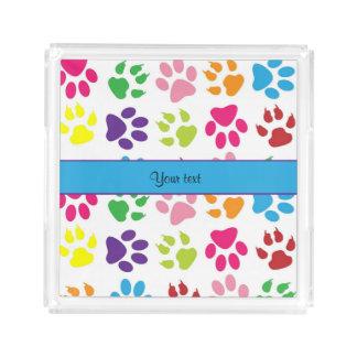 Colorful Animal Paw Prints Acrylic Tray