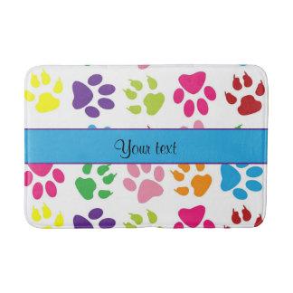 Colorful Animal Paw Prints Bathroom Mat