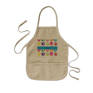 Colorful Animal Paw Prints Kids Apron