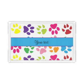 Colorful Animal Paw Prints Perfume Tray