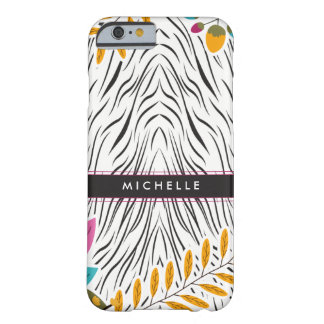 Colorful Animal Print Floral Personalized Phone Barely There iPhone 6 Case