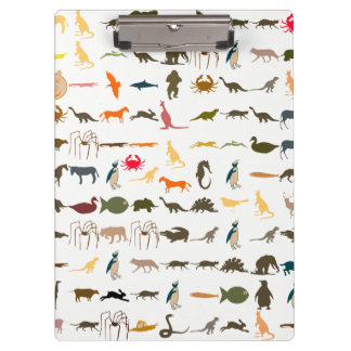 Colorful Animals Pattern #4 Clipboard