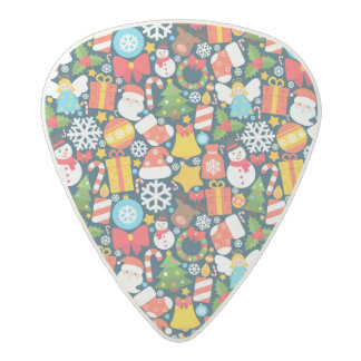 Colorful animated christmas character icon pattern acetal guitar pick