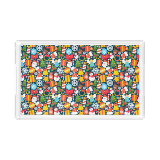 Colorful animated christmas character icon pattern acrylic tray