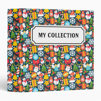 Colorful animated christmas character icon pattern binder