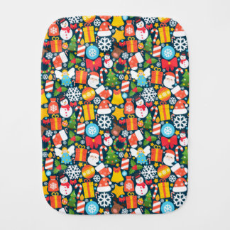 Colorful animated christmas character icon pattern burp cloth