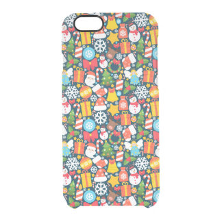 Colorful animated christmas character icon pattern clear iPhone 6/6S case