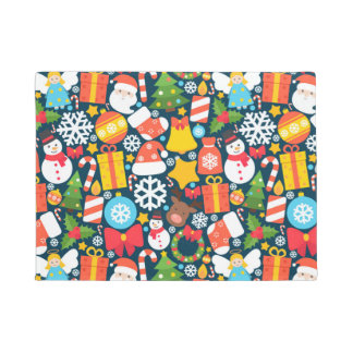 Colorful animated christmas character icon pattern doormat