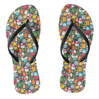 Colorful animated christmas character icon pattern flip flops