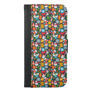 Colorful animated christmas character icon pattern iPhone 6/6s plus wallet case