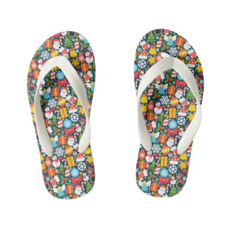 Colorful animated christmas character icon pattern kid's flip flops