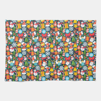 Colorful animated christmas character icon pattern kitchen towel