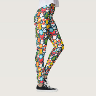 Colorful animated christmas character icon pattern leggings
