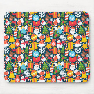 Colorful animated christmas character icon pattern mouse pad