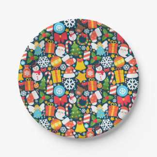 Colorful animated christmas character icon pattern paper plate