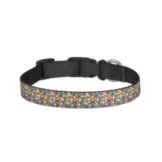 Colorful animated christmas character icon pattern pet collar
