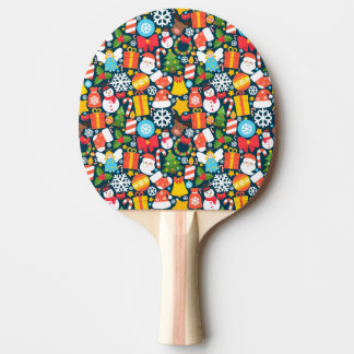Colorful animated christmas character icon pattern ping pong paddle