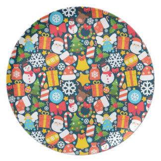 Colorful animated christmas character icon pattern plate